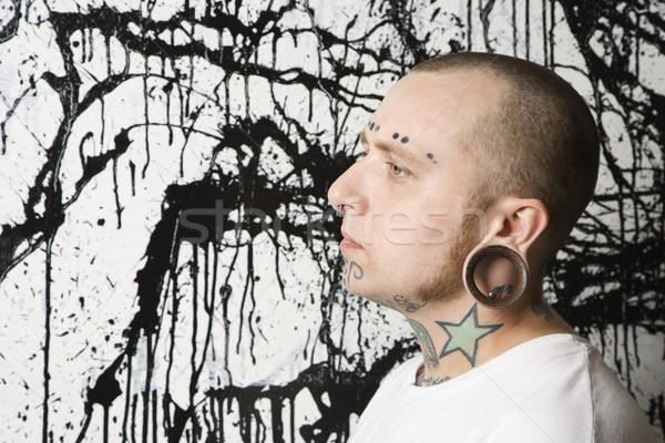 человека краской мужчин татуировка пирсинга Сток-фото © iofoto