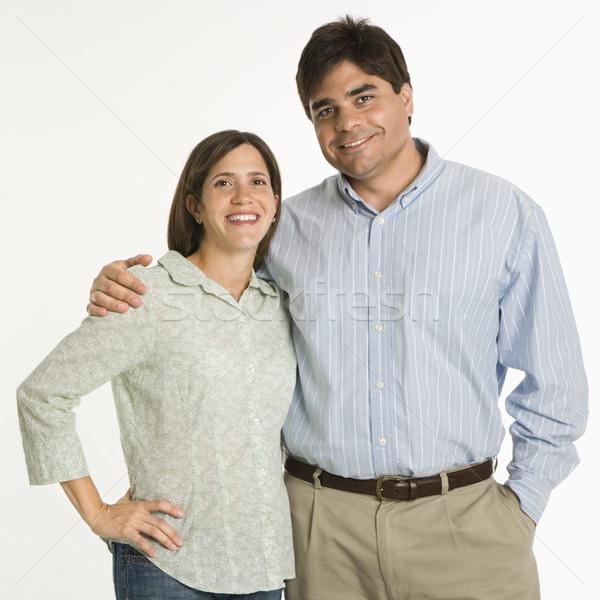 Portret para stałego uśmiechnięty biały kobieta Zdjęcia stock © iofoto