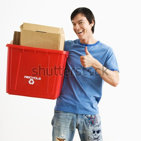 Man holding recycling bin. Stock photo © iofoto