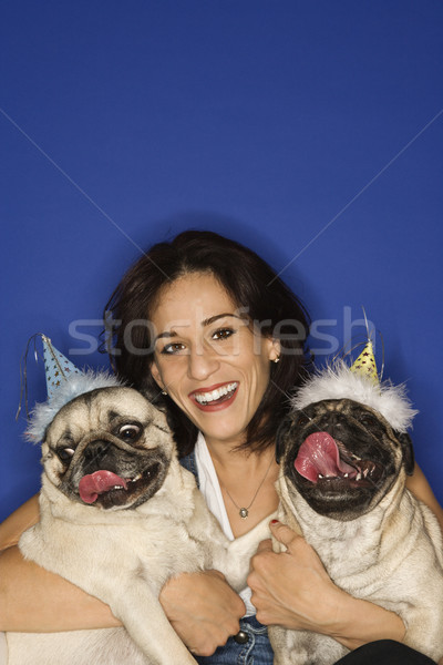 Woman holding two Pug dogs. Stock photo © iofoto