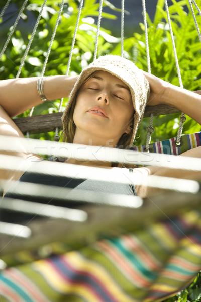 Kadın rahatlatıcı hamak kafkas dinlenmek renk Stok fotoğraf © iofoto