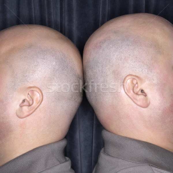 Kopasz közelkép kaukázusi azonos iker férfiak Stock fotó © iofoto