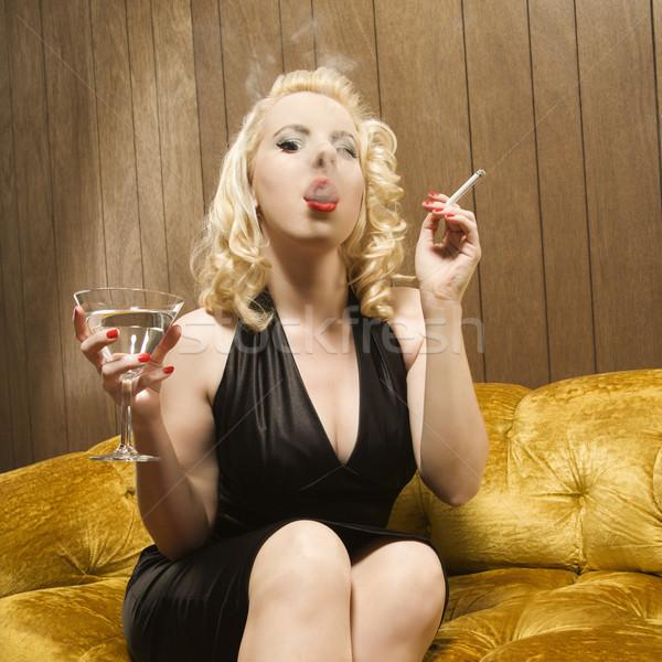 Kadın sigara içme çekici kafkas Martini Stok fotoğraf © iofoto