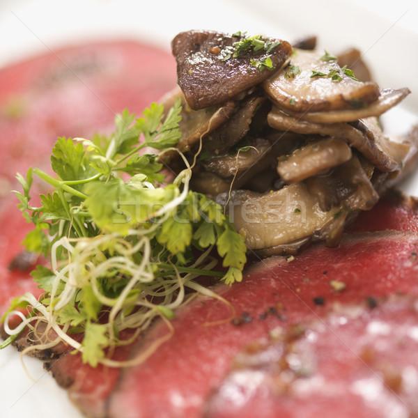 Rundvlees champignons peper voedsel vlees maaltijd Stockfoto © iofoto