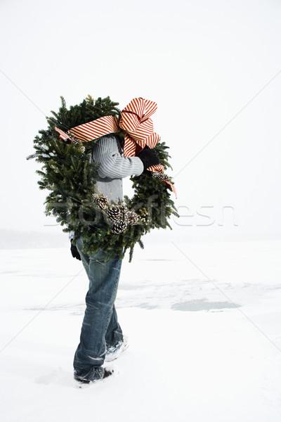 Adam çelenk kar yetişkin erkek Stok fotoğraf © iofoto