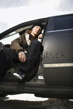 Adolescente seduta auto maschio suv Foto d'archivio © iofoto