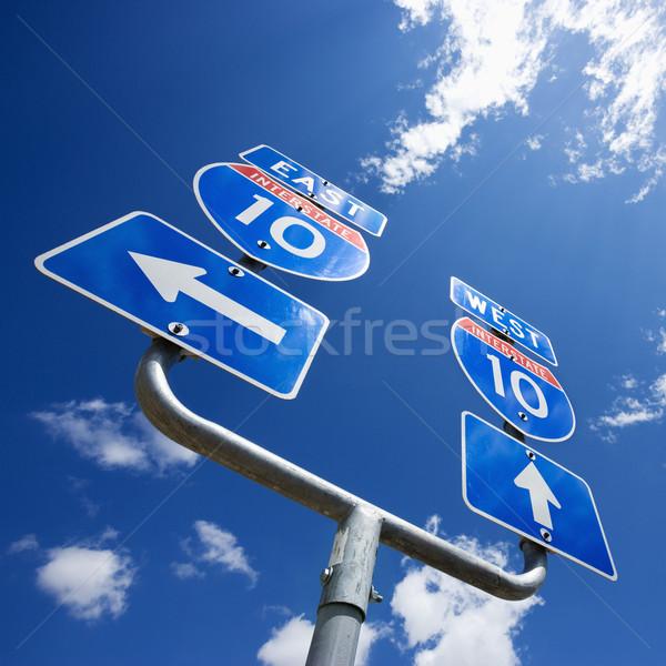 Stok fotoğraf: Eyaletler · arası · 10 · imzalamak · karayolu · oklar
