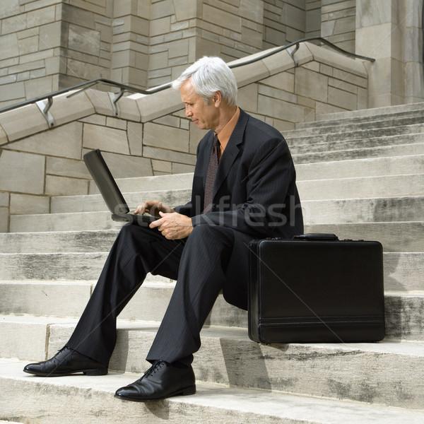 ストックフォト: ビジネスマン · 作業 · 白人 · 座って · 手順