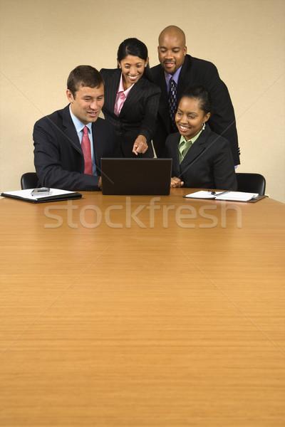 Foto stock: Negocios · información · alrededor · ordenador · portátil
