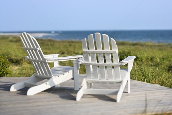 Adirondack chairs overlooking beach on Bald Head Island, North C Stock photo © iofoto