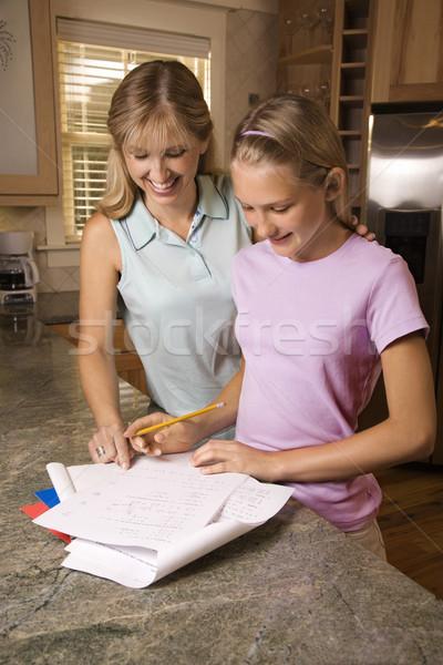 мамы помогают дочь домашнее задание кавказский матери Сток-фото © iofoto