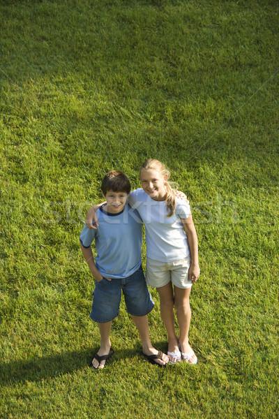 Boy and girl portrait. Stock photo © iofoto