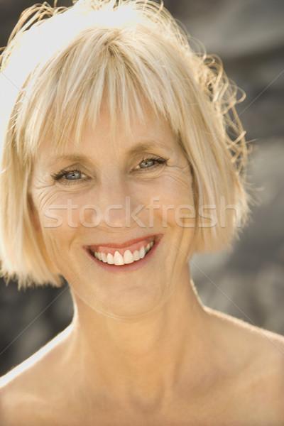 Portret kaukasisch vrouw glimlachen Stockfoto © iofoto