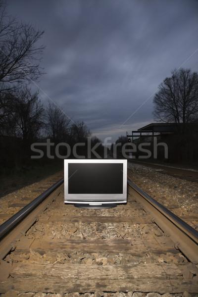 Television on train tracks. Stock photo © iofoto