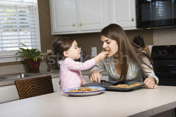 матери дочь кавказский девушки Cookies Сток-фото © iofoto