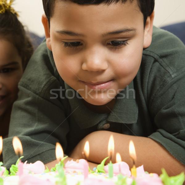 Kids and birthday cake. Stock photo © iofoto
