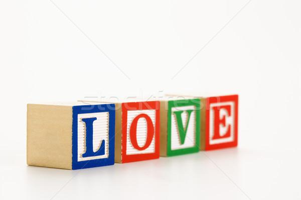 Játék tömbházak ábécé helyesírás szó szeretet Stock fotó © iofoto