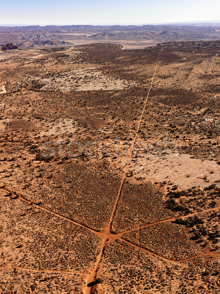 Aerial of Intersecting Dirt Roads Stock photo © iofoto