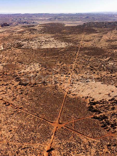 Antenne vuil wegen woestijn landschap verticaal Stockfoto © iofoto
