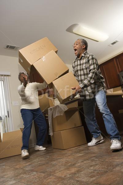 человека коробки старший афроамериканец Сток-фото © iofoto