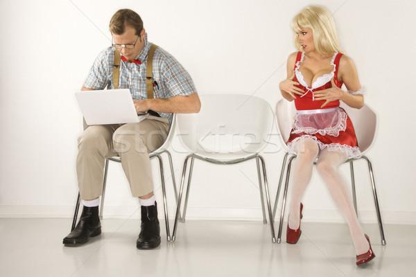 Nő flörtöl férfi kaukázusi fiatalember ahogy Stock fotó © iofoto