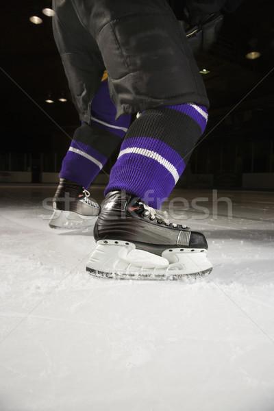 Foto stock: Hockey · sobre · hielo · jugador · hockey · jugadores · piernas