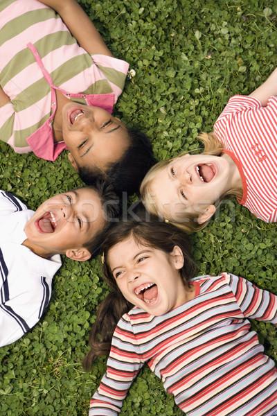 子供 クローバー 悲鳴 一緒に 笑い ストックフォト © iofoto