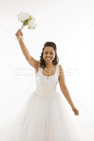 Stock fotó: Menyasszony · tart · virágcsokor · portré · fehér · nő