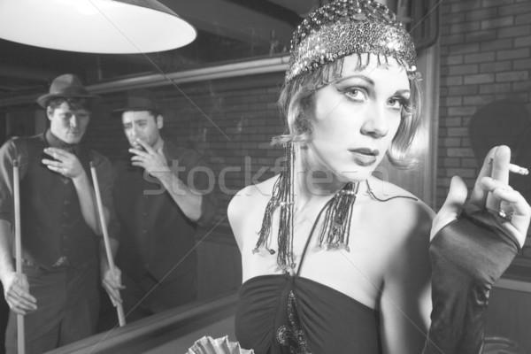 Retro woman with men. Stock photo © iofoto
