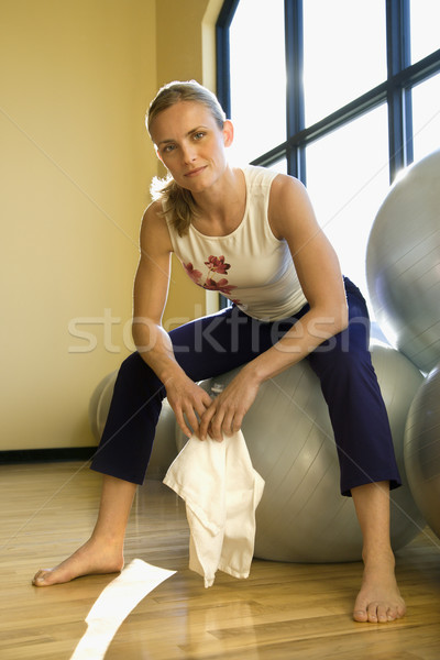 Woman on balace ball. Stock photo © iofoto