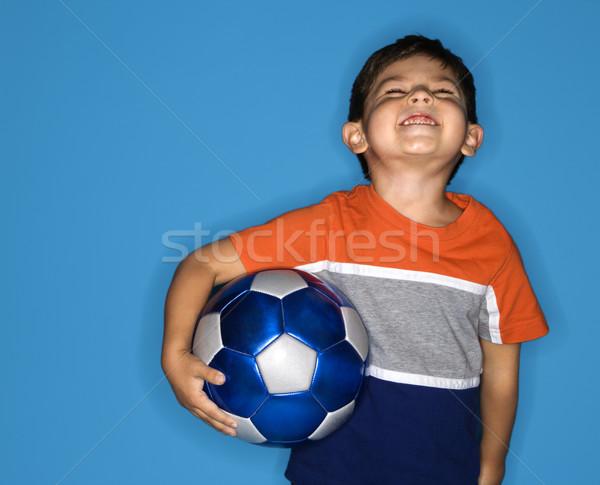 Erkek erkek futbol topu koyu esmer futbol Stok fotoğraf © iofoto