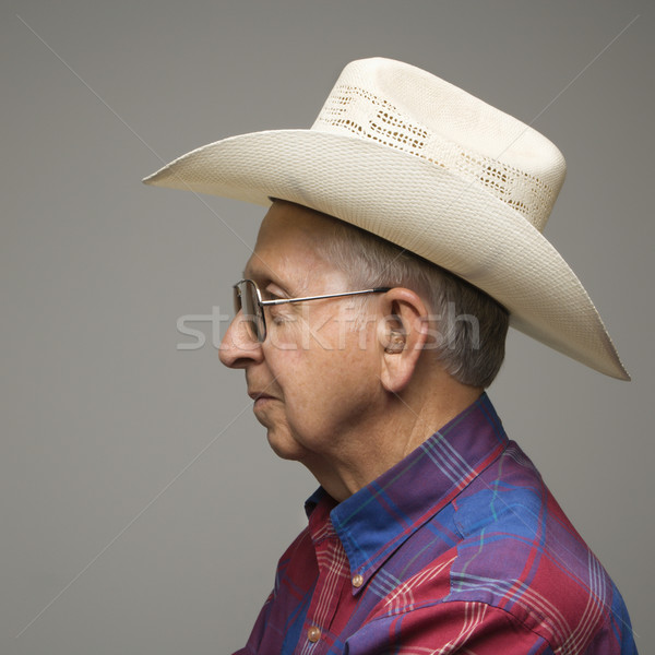 Man cowboyhoed profiel portret ouderen Stockfoto © iofoto
