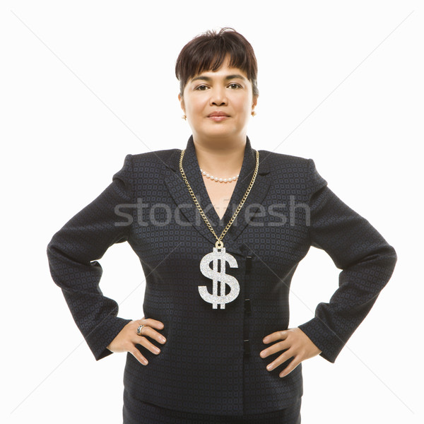 Businesswoman with dollar sign. Stock photo © iofoto