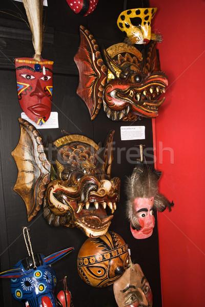 Arte parede máscaras enforcamento varejo armazenar Foto stock © iofoto