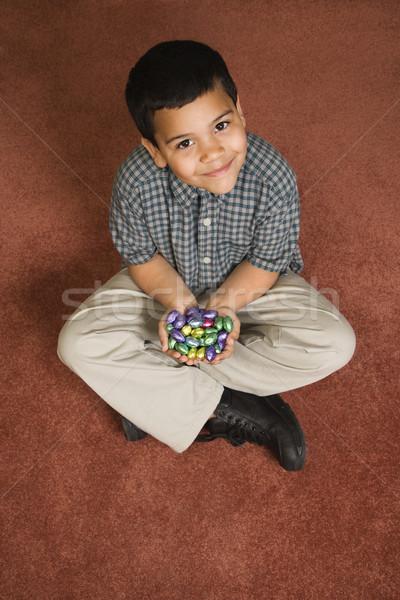 Jongen Pasen snoep latino vergadering Stockfoto © iofoto