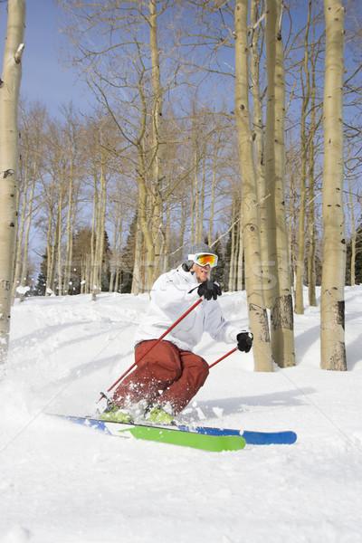 Downhill Skier Making Turn Stock photo © iofoto