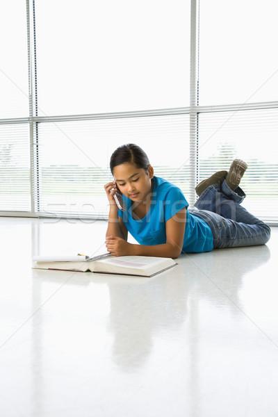Girl doing homework. Stock photo © iofoto