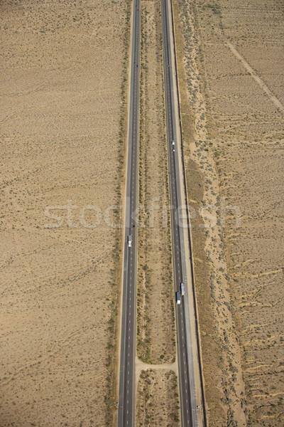 Zwischenstaatlichen Wüste Luftbild Landschaft Autobahn Farbe Stock foto © iofoto