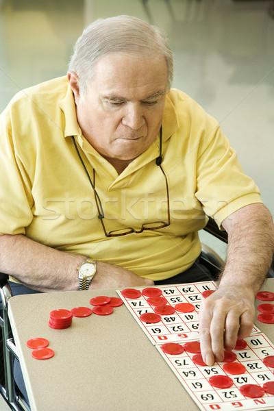 Mature Caucasian playing bingo. Stock photo © iofoto