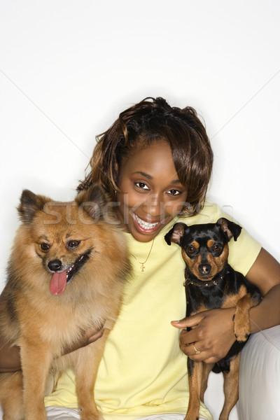Woman holding dogs. Stock photo © iofoto