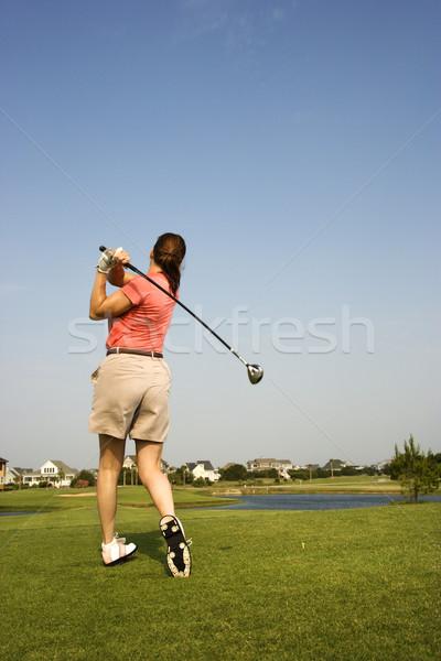 Stockfoto: Vrouw · spelen · golf · achteraanzicht · club · kleur