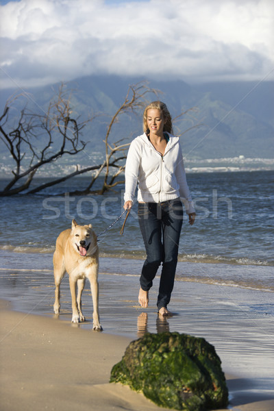Caucasian woman walking brown dog on leash on Maui, Hawaii beach. Stock photo © iofoto