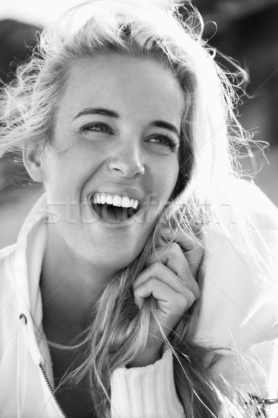 Photo stock: Portrait · joli · blond · femme · souriante