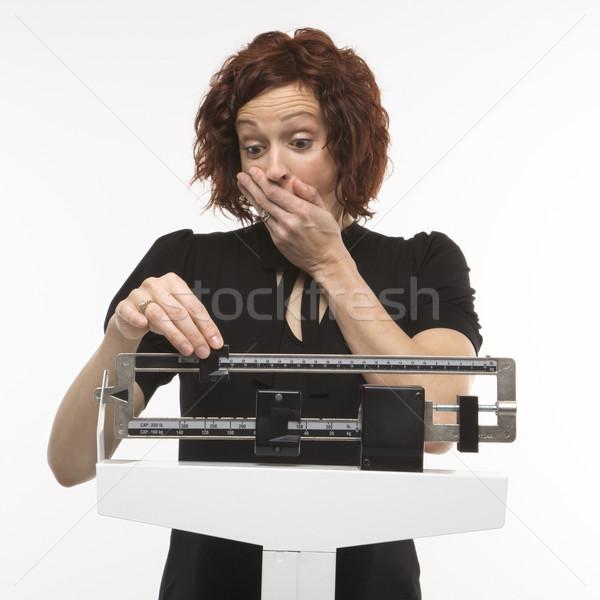 Photo stock: Femme · enceintes · étonné · poids · femmes