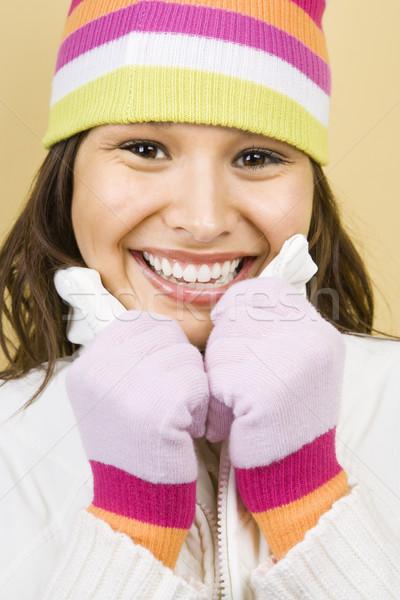 Zimą kobieta hat Zdjęcia stock © iofoto