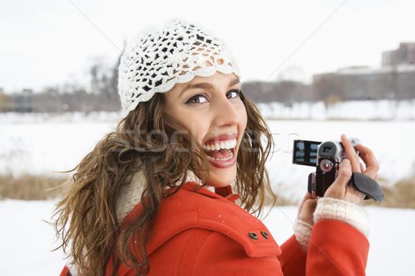 Femme caméra vidéo souriant Homme Photo stock © iofoto