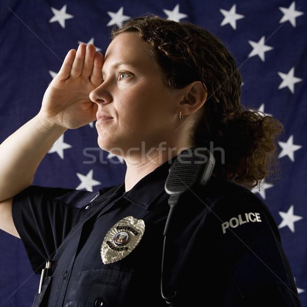Poliziotta ritratto adulto bandiera americana donne Foto d'archivio © iofoto