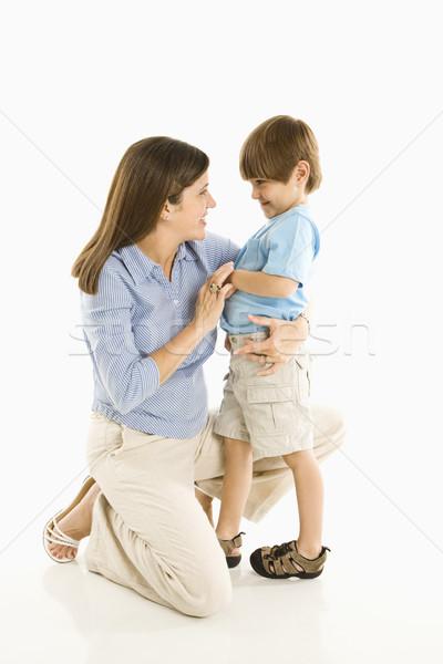 Mère fils vers le bas blanche garçon Photo stock © iofoto