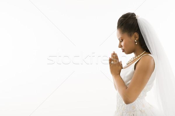 Bidden bruid witte vrouw vrouwen ontspannen Stockfoto © iofoto