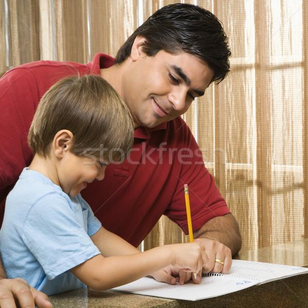 папу помогают сын Hispanic отец домашнее задание Сток-фото © iofoto